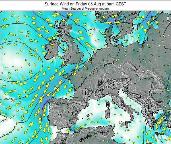 France Surface Wind on Thursday 02 Mar at 1pm CET