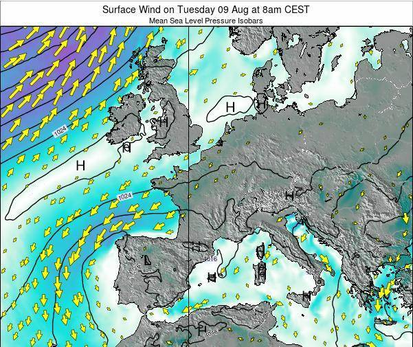 France Surface Wind on Sunday 27 Apr at 2am CEST