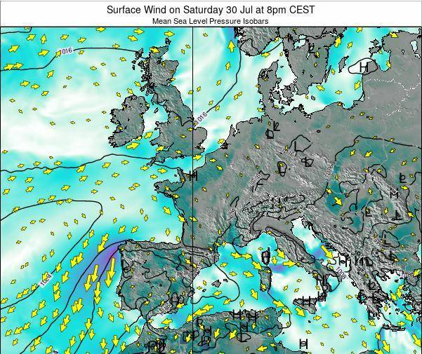 France Surface Wind on Saturday 02 Jul at 8pm CEST
