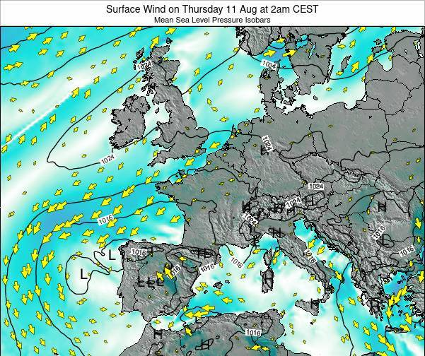 Luxembourg Surface Wind on Monday 04 Aug at 8am CEST map