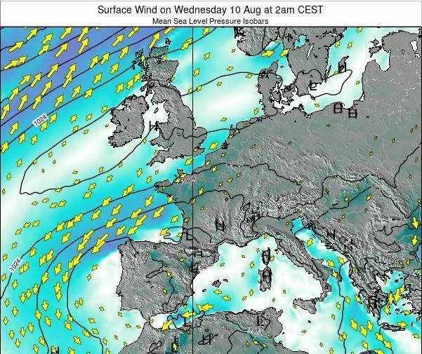 Luxembourg Surface Wind on Tuesday 11 Mar at 7pm CET map