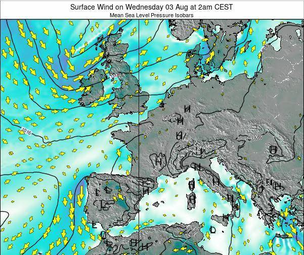 Luxembourg Surface Wind on Sunday 27 Jul at 8pm CEST map
