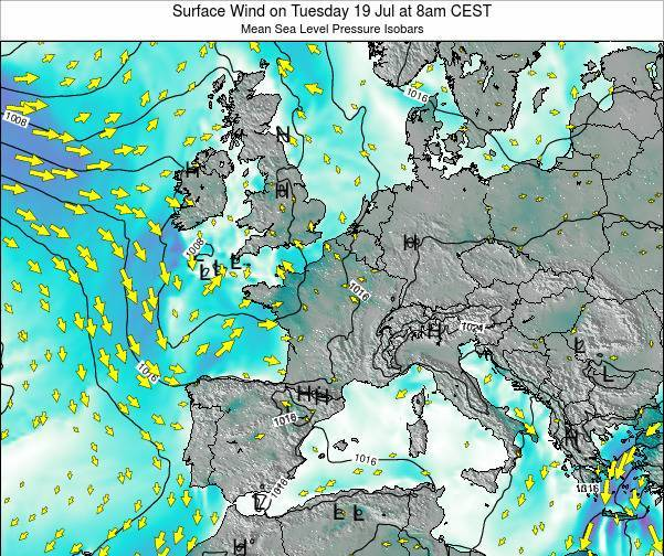 Luxembourg Surface Wind on Saturday 22 Jun at 8pm CEST map