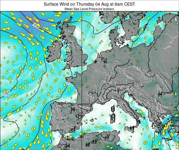 Luxembourg Surface Wind on Wednesday 11 Dec at 1am CET map