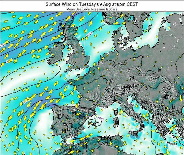 Luxembourg Surface Wind on Sunday 23 Jun at 8am CEST map