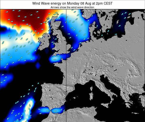 France Wind Wave energy on Sunday 14 Feb at 7am CET
