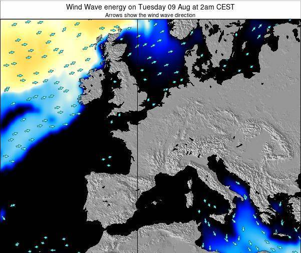 France Wind Wave energy on Thursday 24 Jan at 7pm CET map
