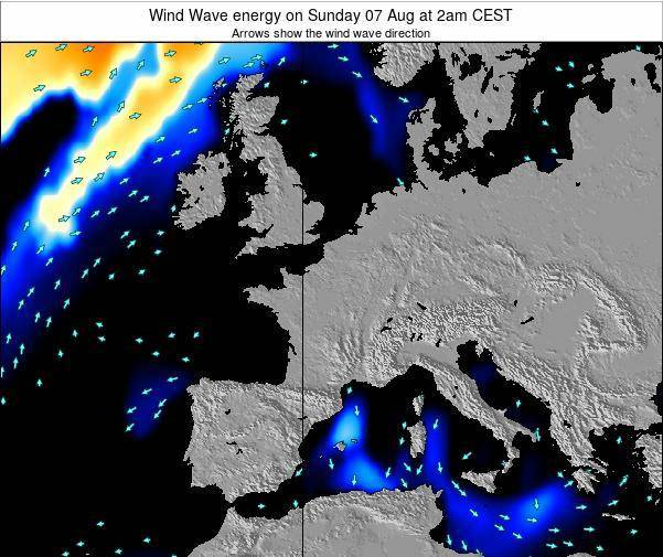 France Wind Wave energy on Sunday 22 Apr at 8pm CEST map