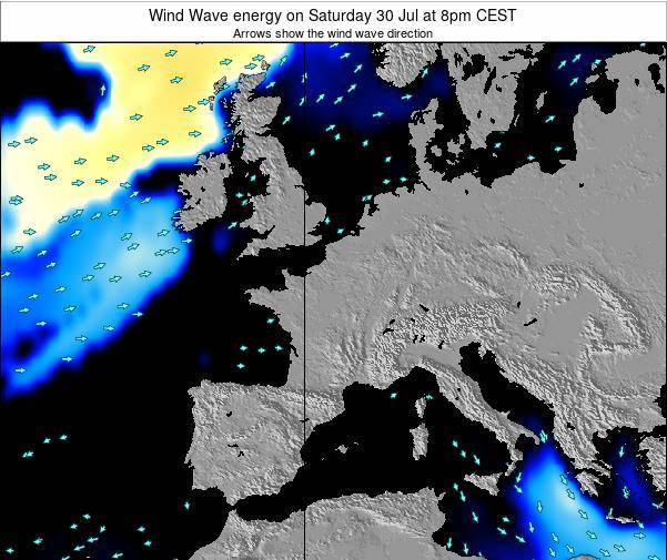 France Wind Wave energy on Wednesday 18 Jul at 8pm CEST map