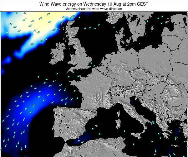 France Wind Wave energy on Thursday 18 Oct at 8am CEST map
