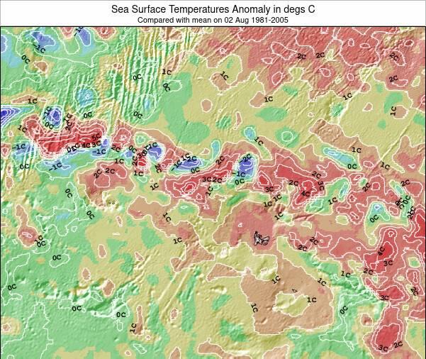 HeardIslandandMcDonaldIslands Anomalía de Temperatura del Mar Mapa