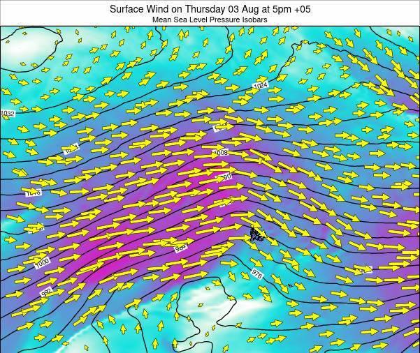 HeardIslandandMcDonaldIslands Surface Wind on Wednesday 12 Dec at 5pm TFT map