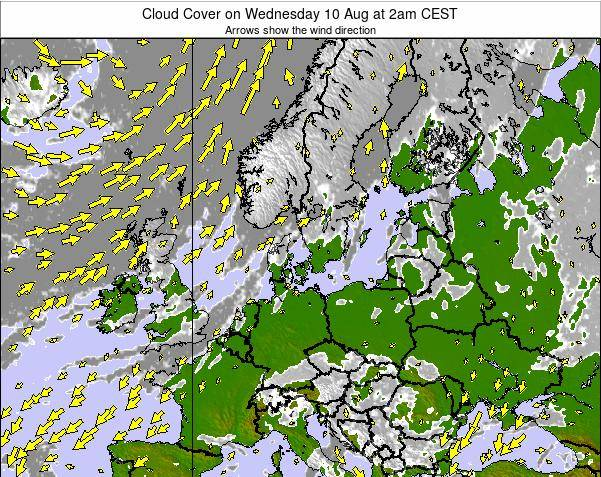 Germany Cloud Cover on Sunday 27 Apr at 8pm CEST