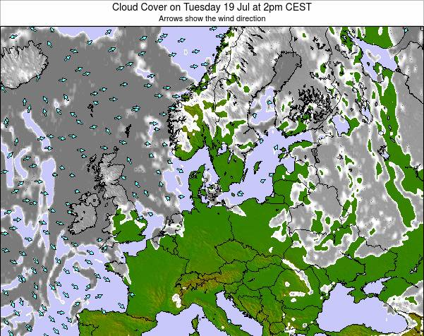Germany Cloud Cover on Wednesday 12 Mar at 1pm CET