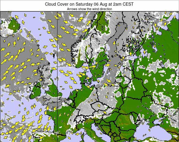 Germany Cloud Cover on Wednesday 19 Jun at 2pm CEST