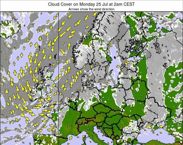 Germany Cloud Cover on Friday 25 Jul at 8am CEST