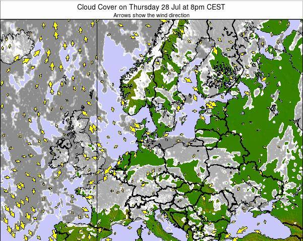Germany Cloud Cover on Tuesday 25 Jun at 2pm CEST