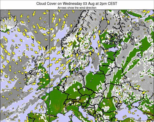 Germany Cloud Cover on Saturday 25 Feb at 7pm CET