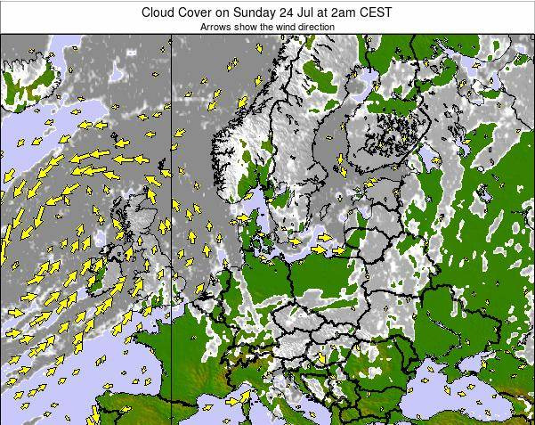 Germany Cloud Cover on Tuesday 29 Jul at 8pm CEST