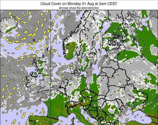 Germany Cloud Cover on Monday 27 May at 8pm CEST