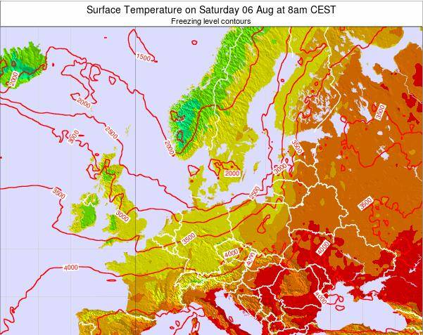 Germany Surface Temperature on Sunday 24 Jun at 8pm CEST map