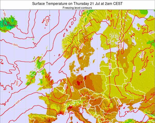 Germany Surface Temperature on Monday 10 Dec at 7pm CET map