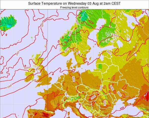 Germany Surface Temperature on Monday 19 Mar at 1am CET map