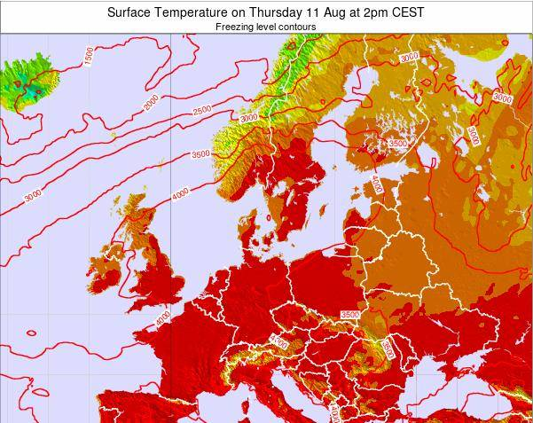Germany Surface Temperature on Tuesday 18 Dec at 7pm CET map