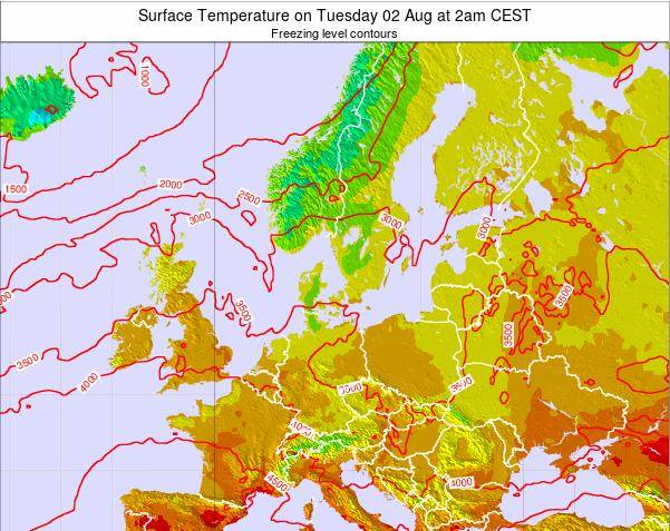 Germany Surface Temperature on Monday 25 Jun at 2am CEST map