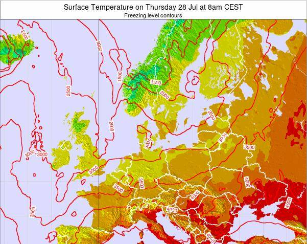 Germany Surface Temperature on Thursday 29 Mar at 7am CET map