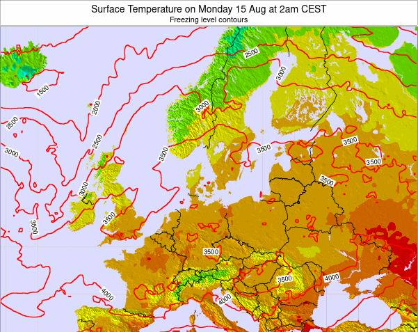 Germany Surface Temperature on Wednesday 28 Mar at 7pm CET map