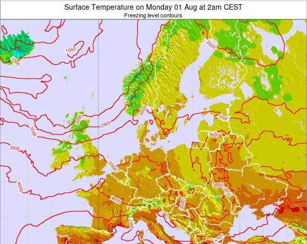 Germany Surface Temperature on Wednesday 21 Mar at 1pm CET map