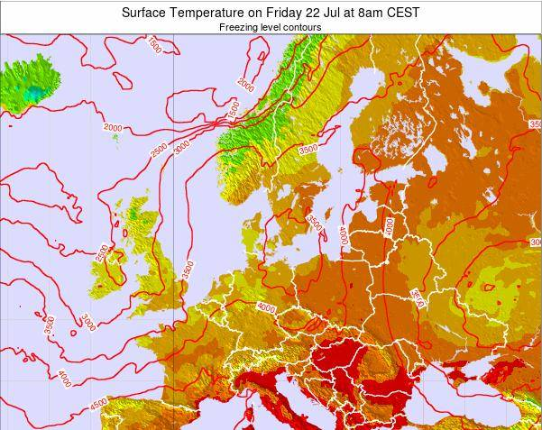 Germany Surface Temperature on Saturday 22 Sep at 2pm CEST map