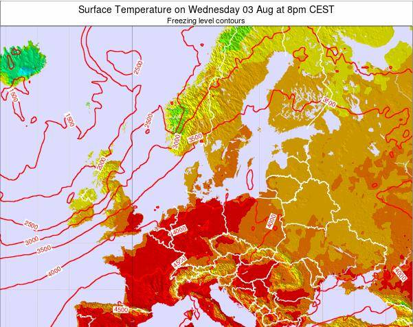 Germany Surface Temperature on Wednesday 12 Dec at 7pm CET map