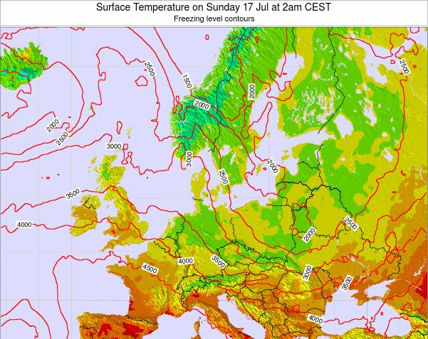 Germany Surface Temperature on Friday 23 Mar at 7pm CET map
