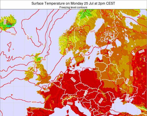 Germany Surface Temperature on Monday 23 Jan at 7pm CET