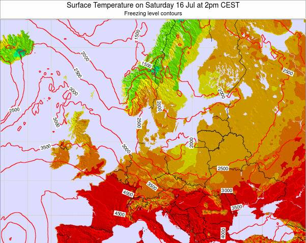 Germany Surface Temperature on Wednesday 23 Apr at 8pm CEST