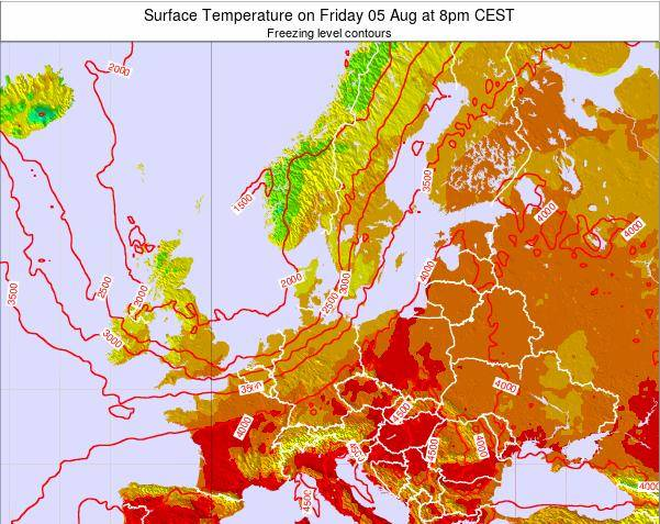 Germany Surface Temperature on Wednesday 12 Mar at 1am CET