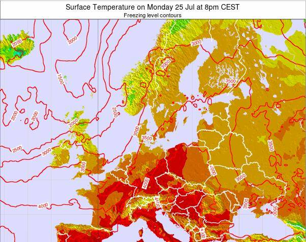 Germany Surface Temperature on Monday 28 Jul at 2pm CEST