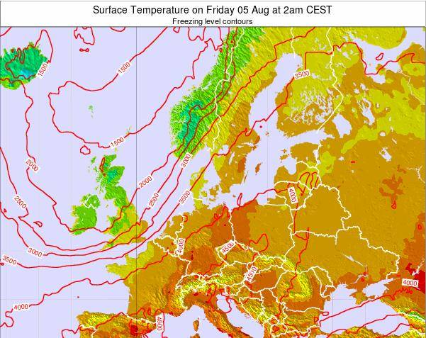 Germany Surface Temperature on Friday 06 Dec at 7pm CET