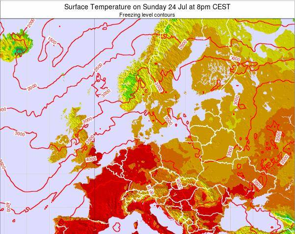 Germany Surface Temperature on Tuesday 28 Jun at 8pm CEST