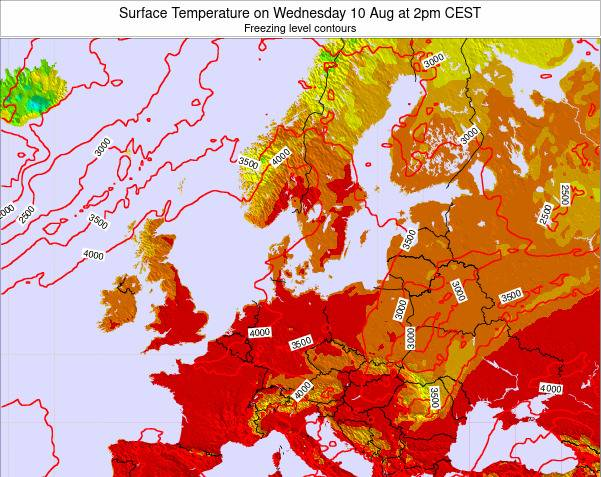 Germany Surface Temperature on Friday 21 Dec at 7pm CET map