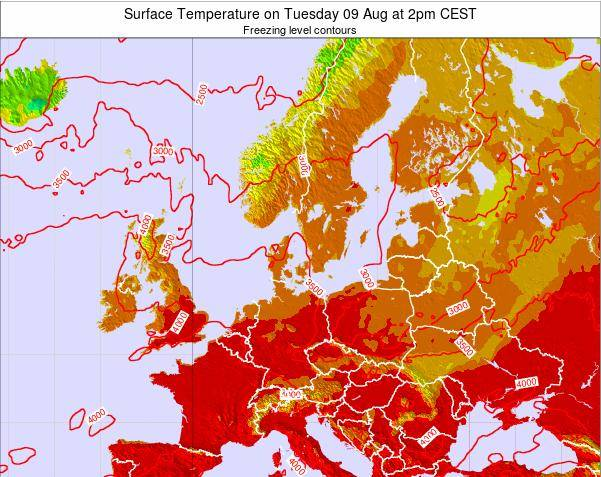 Germany Surface Temperature on Tuesday 18 Dec at 7am CET map