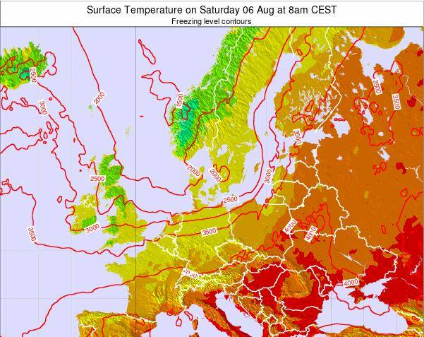 Germany Surface Temperature on Tuesday 27 Mar at 7am CET map