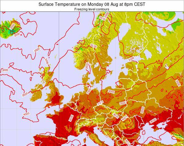 Germany Surface Temperature on Wednesday 19 Dec at 7am CET map
