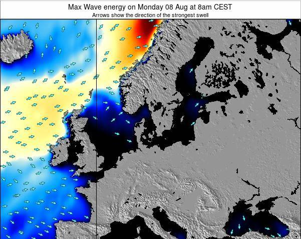 Germany Max Wave energy on Sunday 22 Jul at 8am CEST map