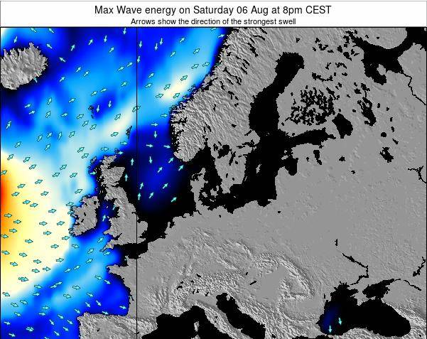 Germany Max Wave energy on Saturday 27 Jan at 1pm CET map