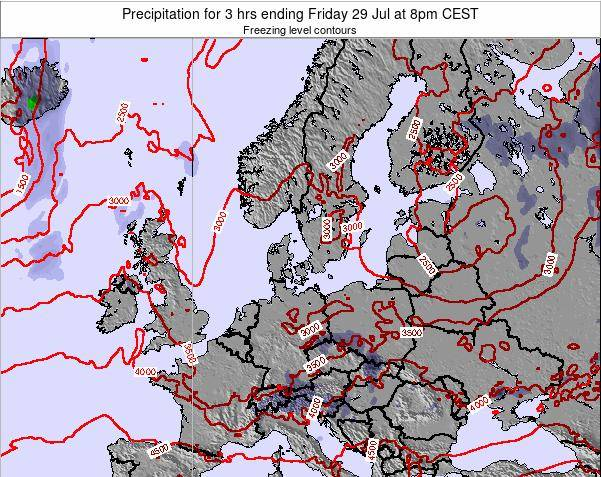Denmark Precipitation for 3 hrs ending Wednesday 29 May at 8pm CEST