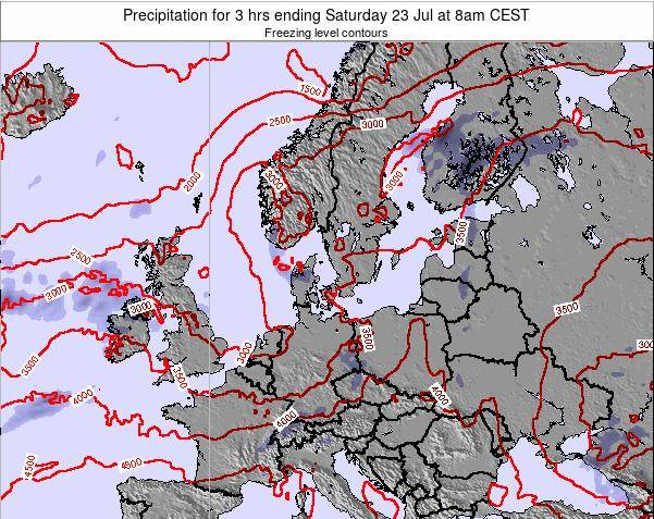 Denmark Precipitation for 3 hrs ending Thursday 23 May at 2pm CEST map