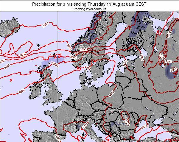 Germany Precipitation for 3 hrs ending Saturday 14 Dec at 1pm CET map
